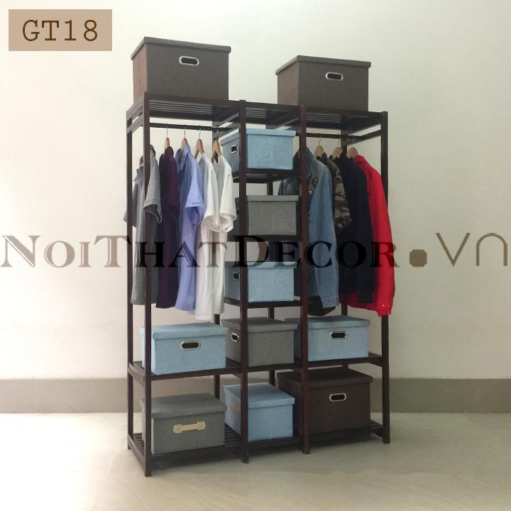 Giá treo quần áo gỗ sồi GT18 120x40x160cm