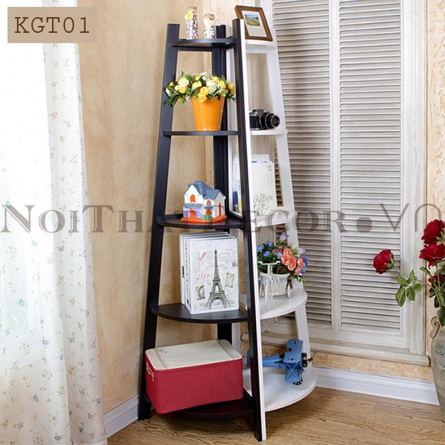 Kệ gỗ góc tường chữ A 5 tầng KGT01