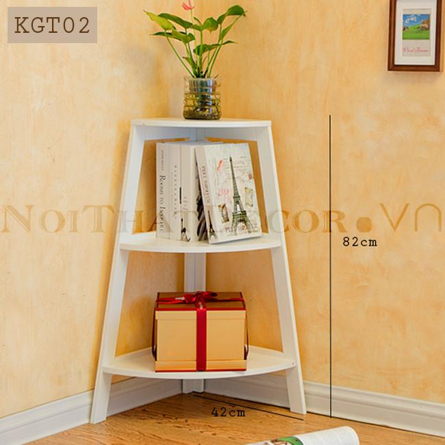 Kệ gỗ góc tường chữ A 3 tầng KGT-02