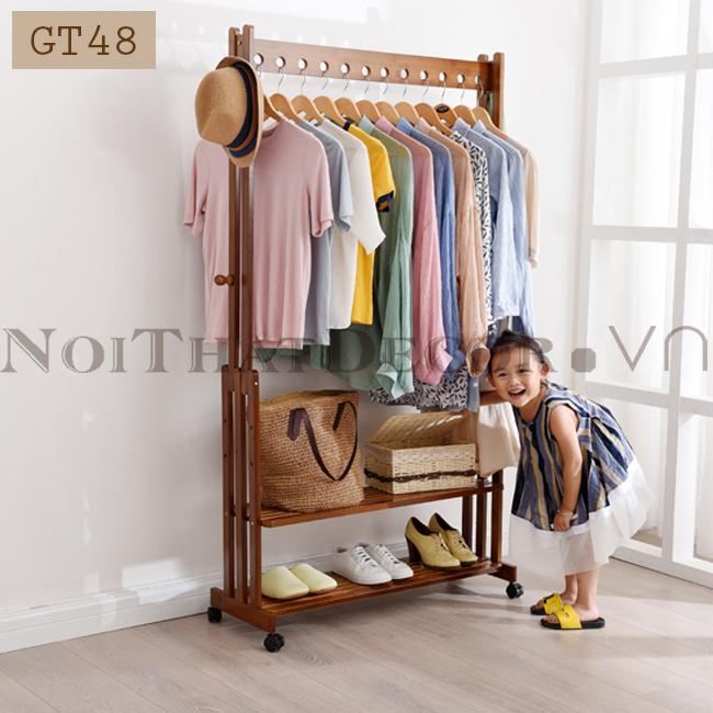 giá treo quần áo chất liệu tre khối GT48