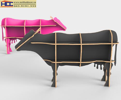 kệ sách đẹp kệ sách hình con vật kệ sách hình con vật tiện lợi kệ giá sách hình con bò sữa Noithatdecor.vn