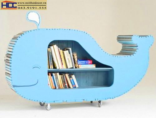 kệ sách đẹp kệ sách hình con vật giá kệ sách hình chú cá heo Noithatdecor.vn