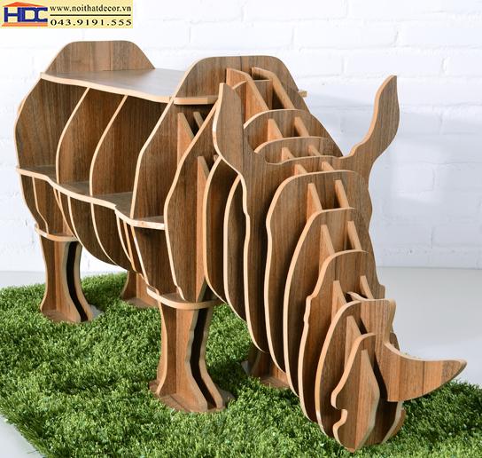 kệ sách đẹp kệ sách hình con vật kệ sách hình con tê giác 2 Noithatdecor.vn