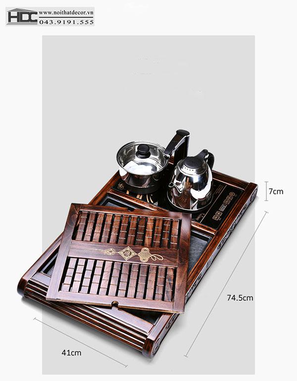 Khay trà điện gỗ Pơ - Mu -BT-08