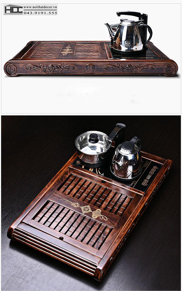 Khay trà điện gỗ Pơ - Mu -BT-06
